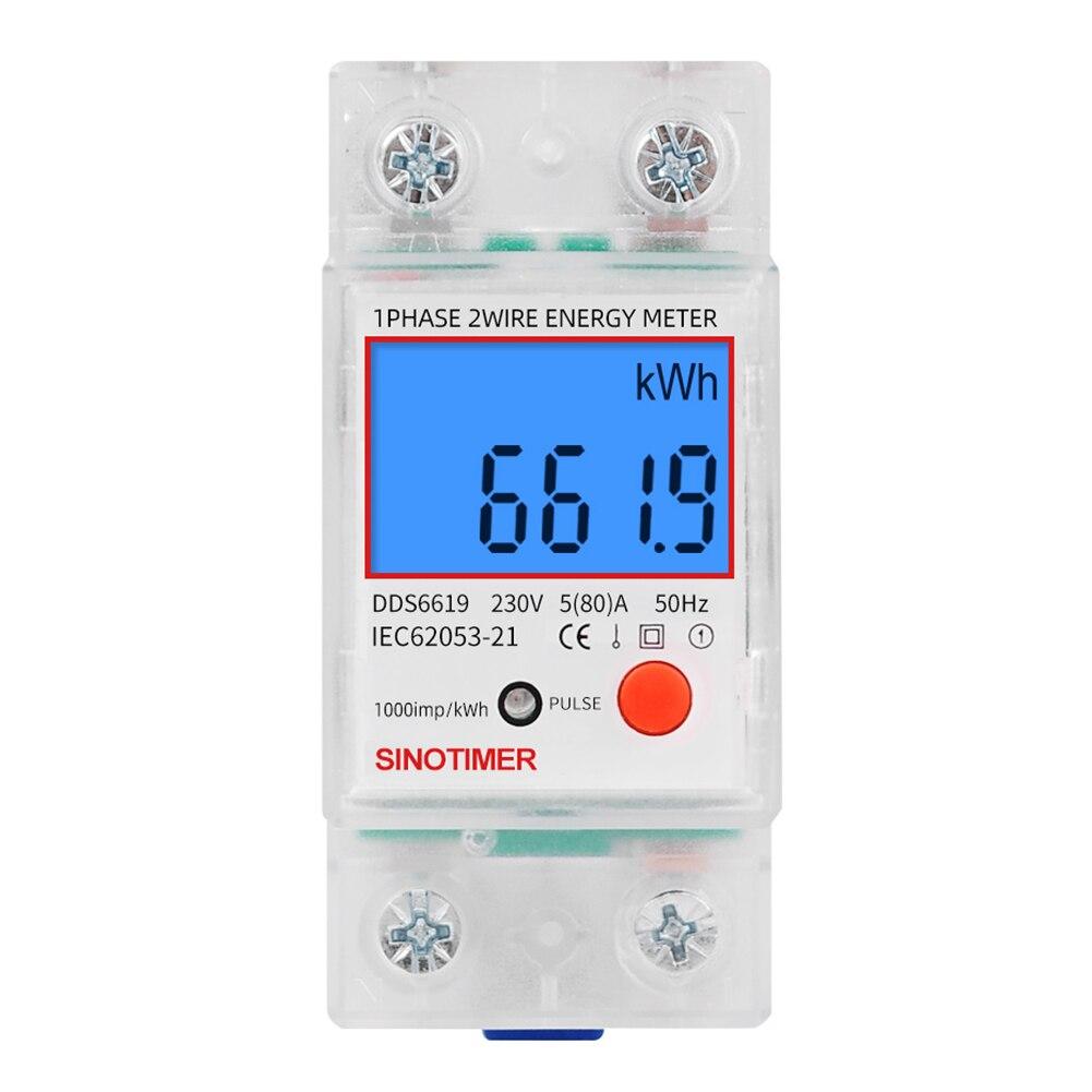 Однофазный цифровой измеритель энергопотребления на Din-рейку с ЖК-дисплеем