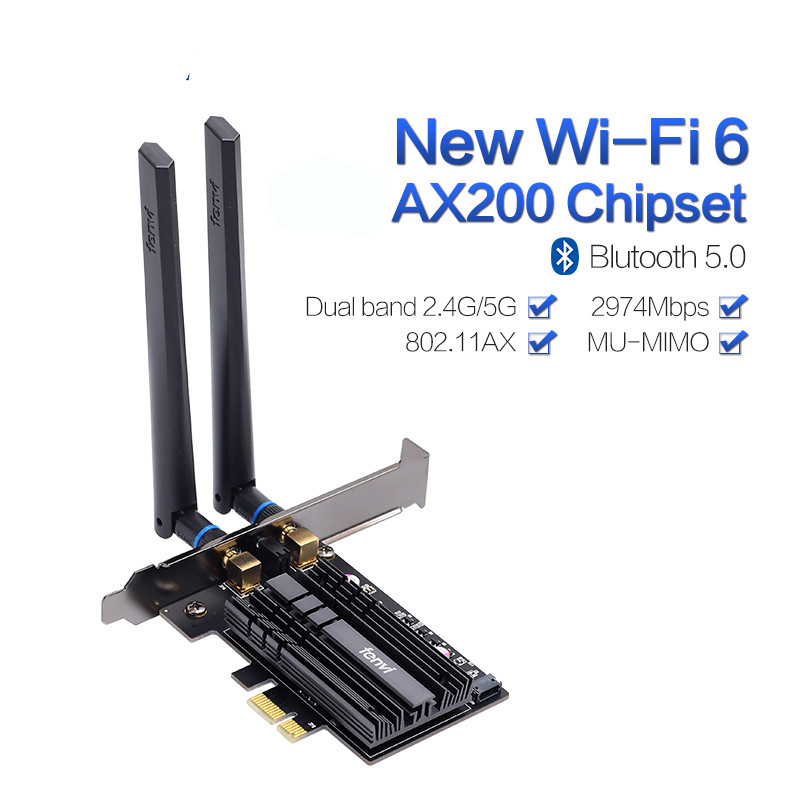 Dual band 2974Mbps Wireless-AC AX200 Wi-Fi 6 802.11ax 2.4Gbps Desktop PCI-E 1X wifi card For AX200NGW Network BT5.0 Antennas(China)