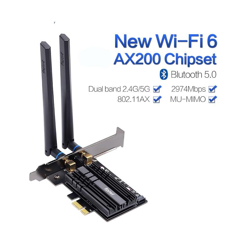 Dual Band 2974Mbps Wireless-AC AX200 Wi-Fi 6 802.11ax 2.4Gbps Desktop PCI-E 1X Wifi Card For AX200NGW Network BT5.0 Antennas