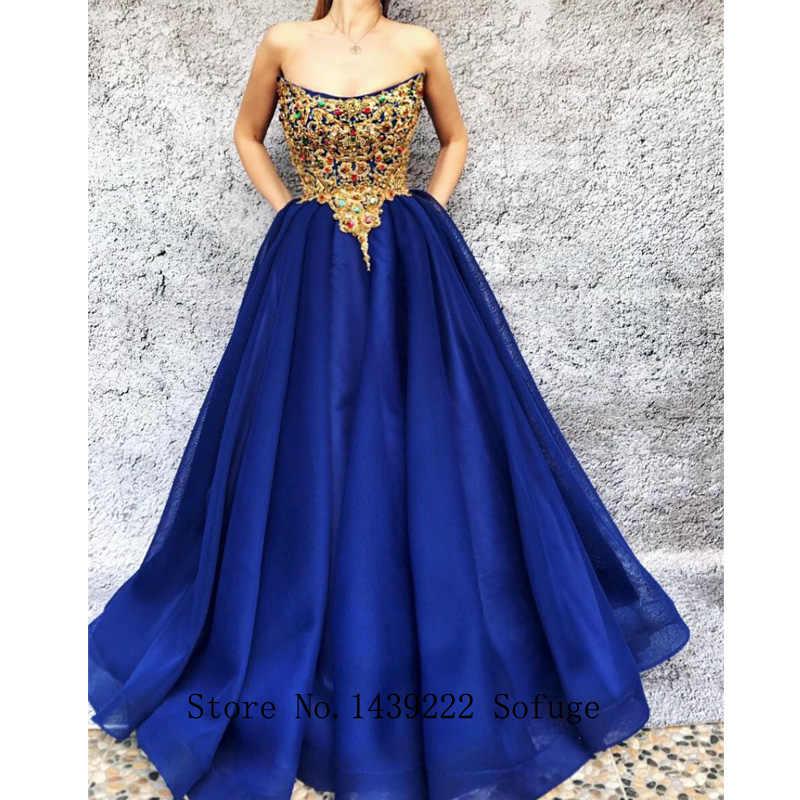 Royal Blue Piega i Vestiti Da Sera di Promenade Senza Spalline D'oro Appliques Perline Vestidos De Fiesta Robe De Soiree Plus Size