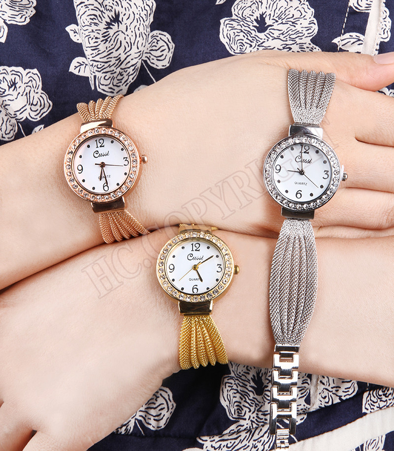 Gorgeous Watches Women Stainless Steel Mesh Strap Fashion Casual Quartz Crystal Decor Bracelet Wrist Watch