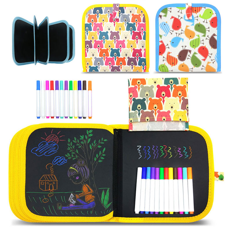 Baby Drawing Toys Painting Blackboard Brush With Water Chalk Reusable Cloth Drawing Painting Coloring Book With Pen For Children