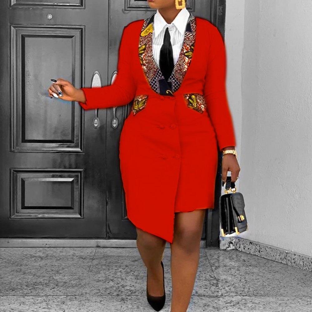 OL офисный Женский блейзер модное платье в африканском стиле 3XL асимметричное весеннее желтое асимметричное облегающее платье с длинным рук...