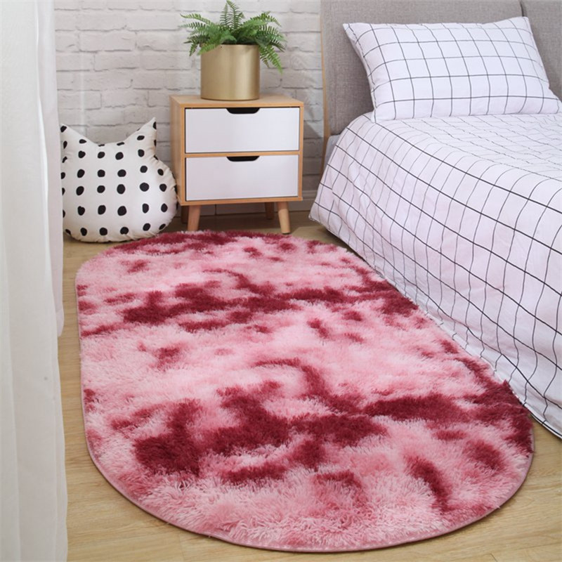 Not Lint Not Faded Non-slip Carpet Nordic Bedroom Oval Bedside Mat Living Room Sofa Coffee Table Rug Room Plush Blanket