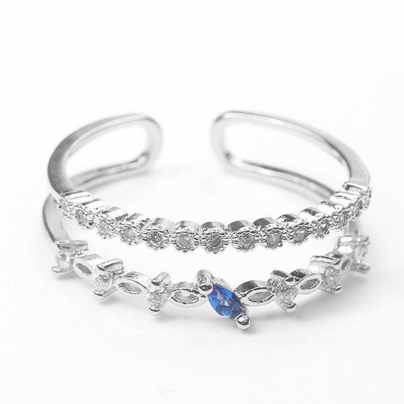 Korean version of simple zircon color retention ring temperament double open ring wild ring female