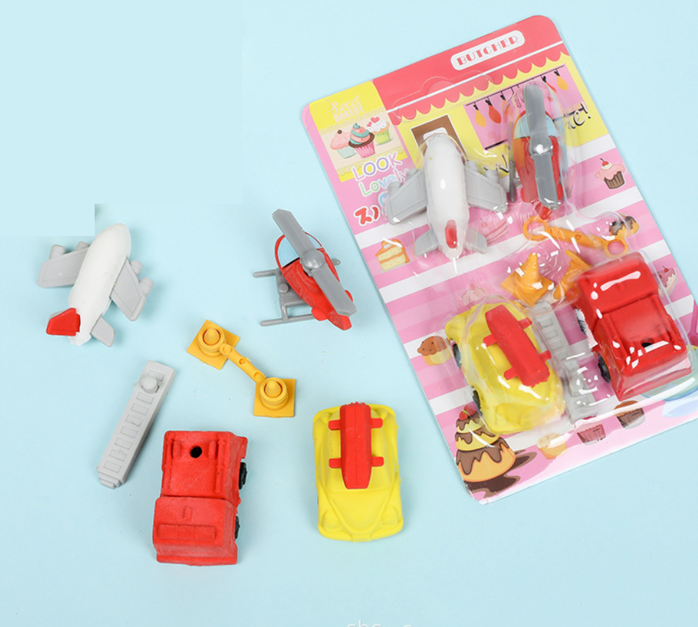 Eraser Set TPR Rubber Cute Helicopter Airplane Fire Engine Pencil Erasers Stationery Kids Gifts School Supplies Prize