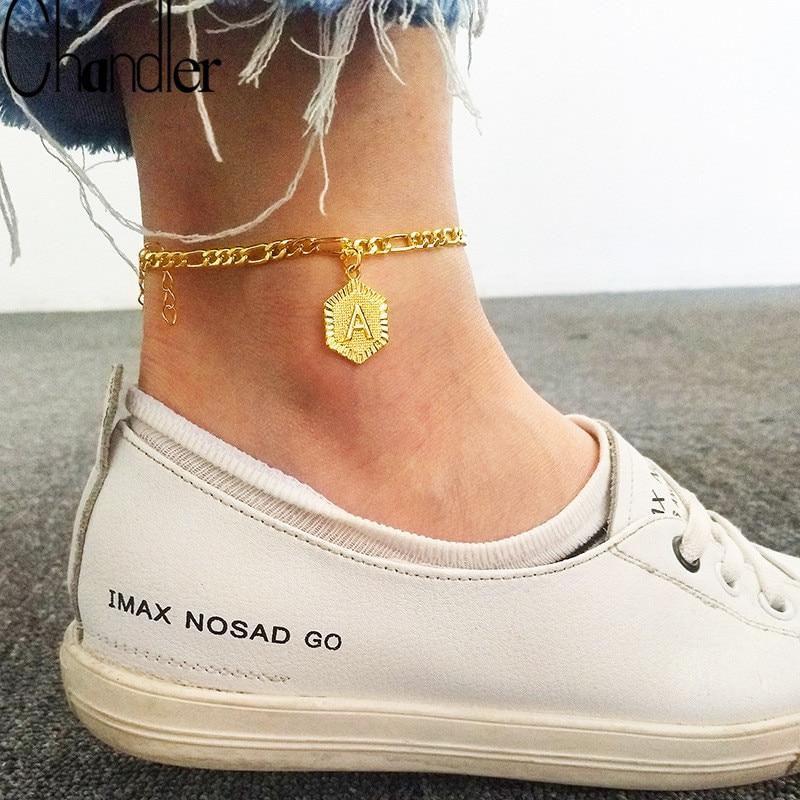 Chandler Letter A-Z Custom Alphabet Initial Anklets Women Boho Foot Jewelry Stainless Steel Foot Chain Letter Ankle Bracelet