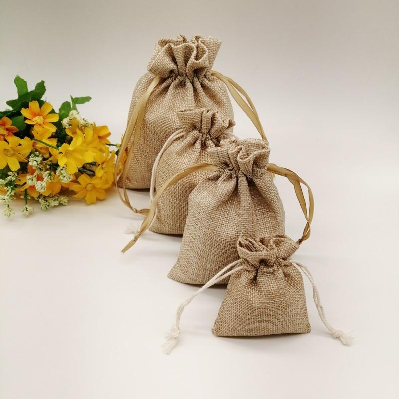 500pcs Jute Zak Jute Linen Drawstring Bag Gift Bag Jutte Zakjes Diy Handmade Jute Bag Pack Christmas Party Wedding Jewelry Pouch