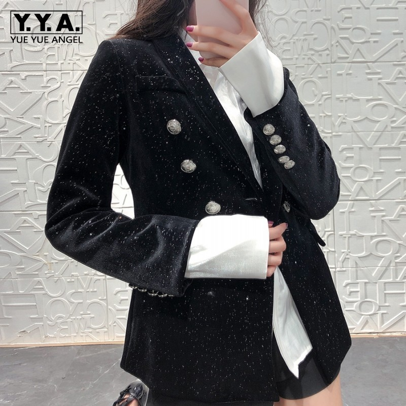 High Quality Full Body Little Stars Sequin Women Slim Fit Velvet Blazer Double Breasted Shawl Collar Ladies Party Coats Wear