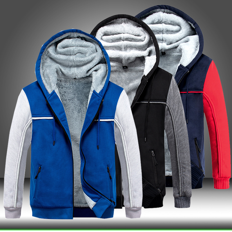 Fleece Jacket Hoodie Warm Parka Overcoat Windbreaker Zipper Men Men's Fashion Casual title=