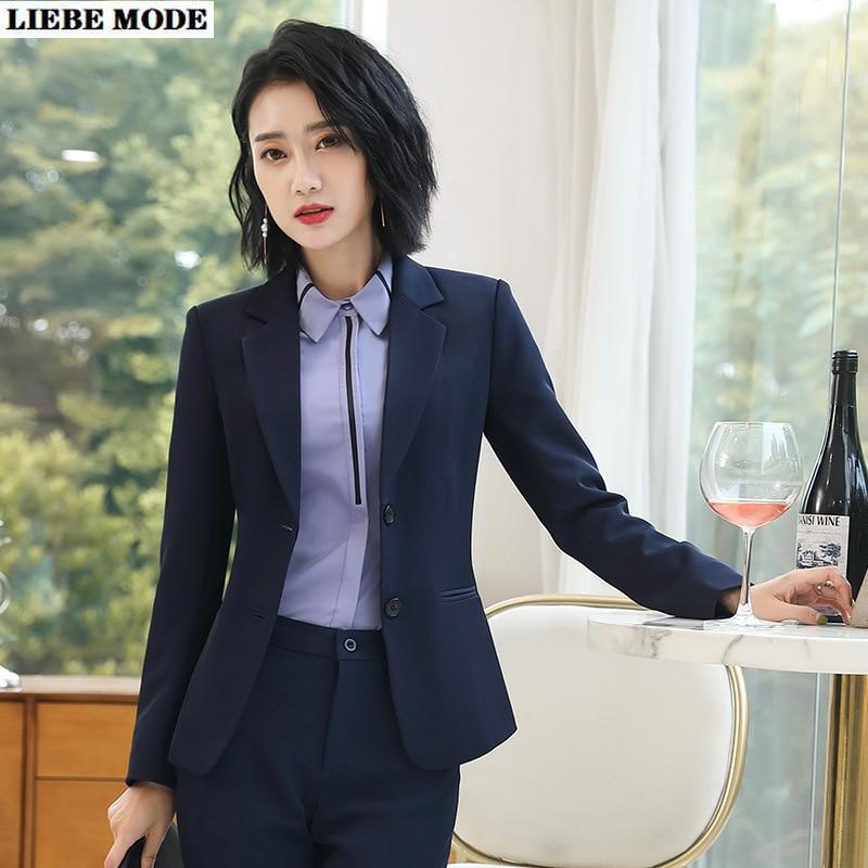 OL Black Navy Blue Pants Suit Jackets Trousers 2piece Set Women Work Wear Office Pantsuit Female Uniform Formal Blazer And Pant