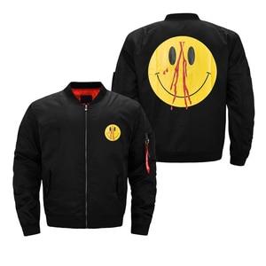 Мужская куртка-бомбер, тонкая Водонепроницаемая ветровка со смайликом, Мужской логотип, хлопок, полиэстер, стеганая внутренняя часть, черна...