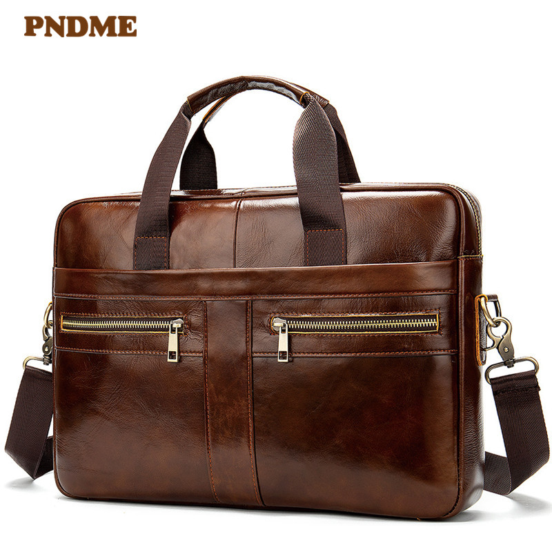 PNDME Business Vintage Genuine Leather Men's A4 Briefcase Natural Cowhide Handbag Office Light Laptop Shoulder Messenger Bags