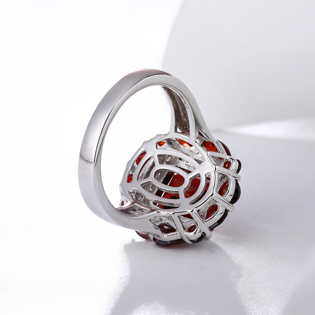 GZ ZONGFA Hot Sale Handmade Wedding Engagement Fine Jewelry Natural Garnet 925 Sterling Silver Ring For Party women 5