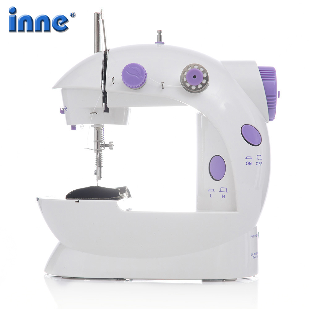 INNE Sewing Machine Mini Portable Household Night Light Foot Pedal Straight Line Hand Table Two Thread Kit Electric