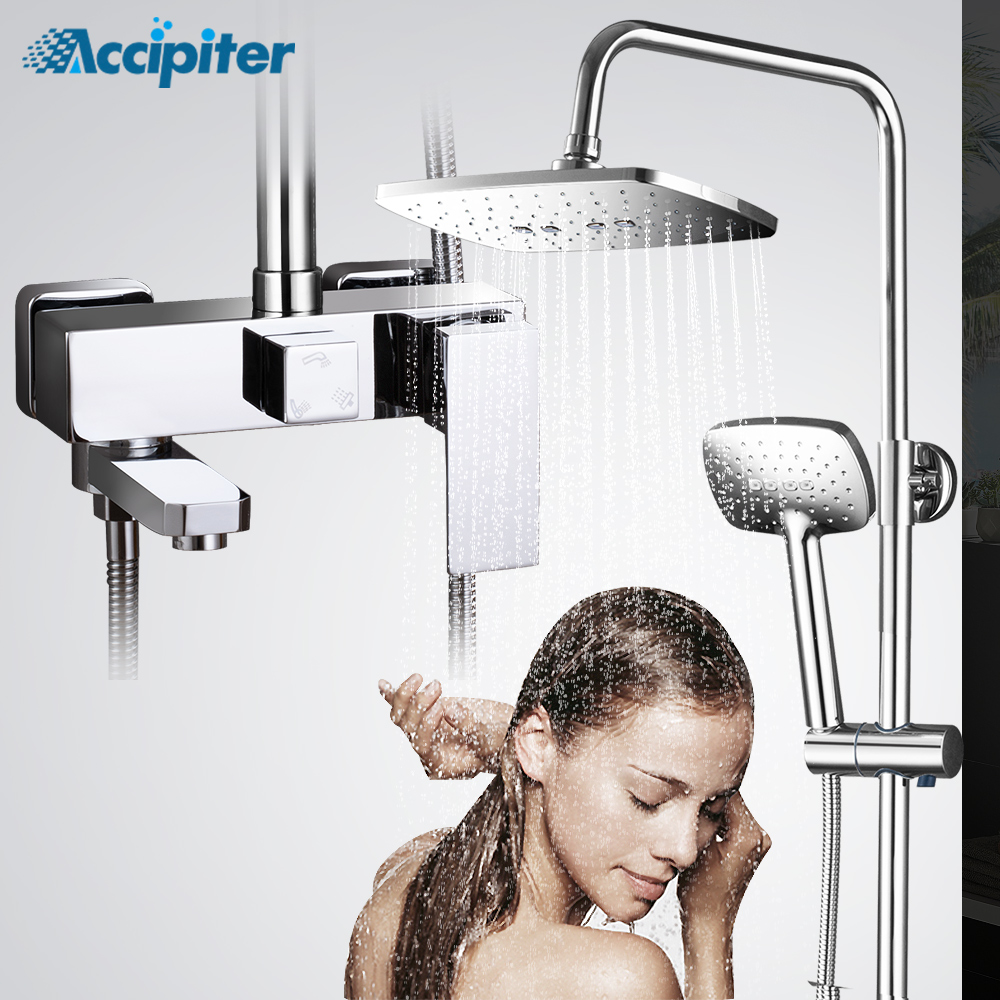 Shower Faucets With 8 Inch Shower Head 3 Functions Shower Set Bathroome Faucets Hot Cold Water Mixer Chrome With Soap Dispenser