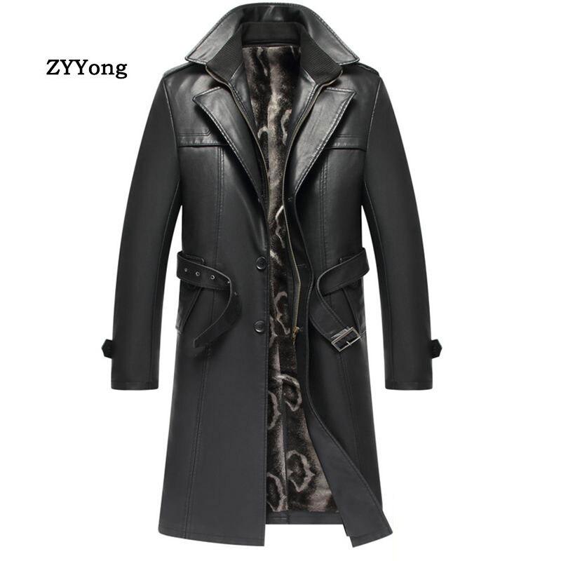 Winter Leather Jacket Men Trench Coat Plus Velvet Warm Long Windbreaker Top Business Classic Blazer Collar Overcoat Outwear