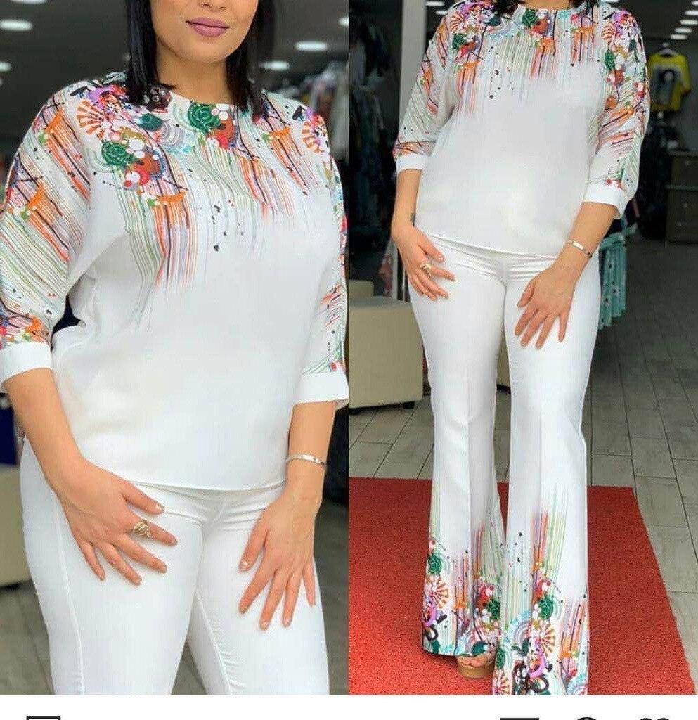 Комплект из 2 предметов, африканские комплекты для женщин, новые эластичные штаны с принтом в африканском стиле, женский топ с коротким рукавом и штаны в африканском стиле, женский костюм|Африканская одежда|   | АлиЭкспресс