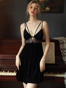 Image 1 - Sexy Nightdress Sleepwear Casual Nightwear Home Dress Female Sleepshirt Velvet Hollow Deep V Beauty Back Seductive Homewear