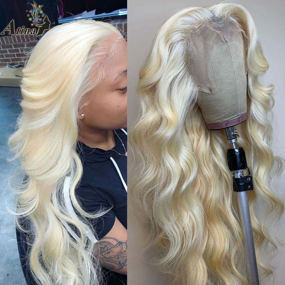 613 Lace Front Wig HD Frontal Blonde Wig 40 Inch Human Hair Transparent Lace Wigs Body Wave Glueless Pre Plucked For Women Atina