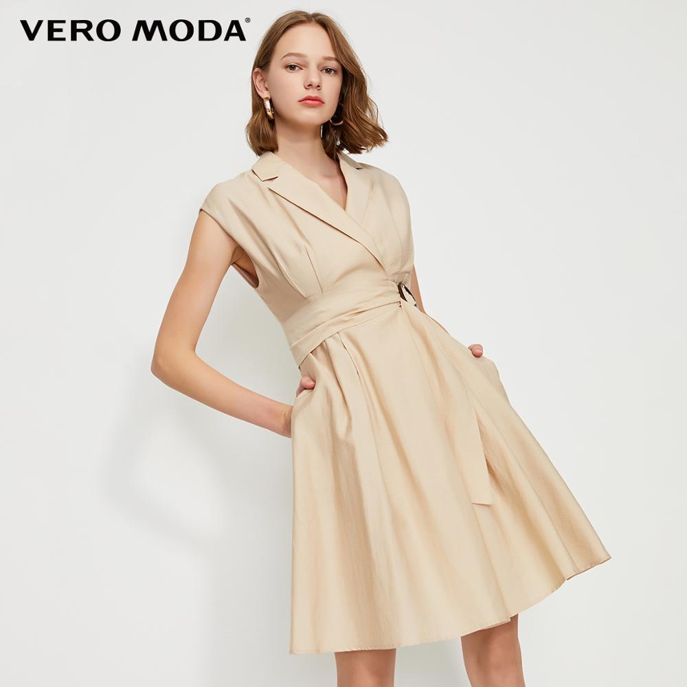 Vero Moda Women's OL Style Turn-down Collar Wrap Sleeveless Dress | 31927B553