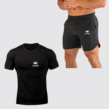 SummerSportswear Fitness Two-piece Tees+Shorts Set Men Cotton Multi Color Short Sleeve Fashion  T-Shirt Sets casual matching sets summer two piece set o neck short sleeve t shirt high waist side striped shorts sets