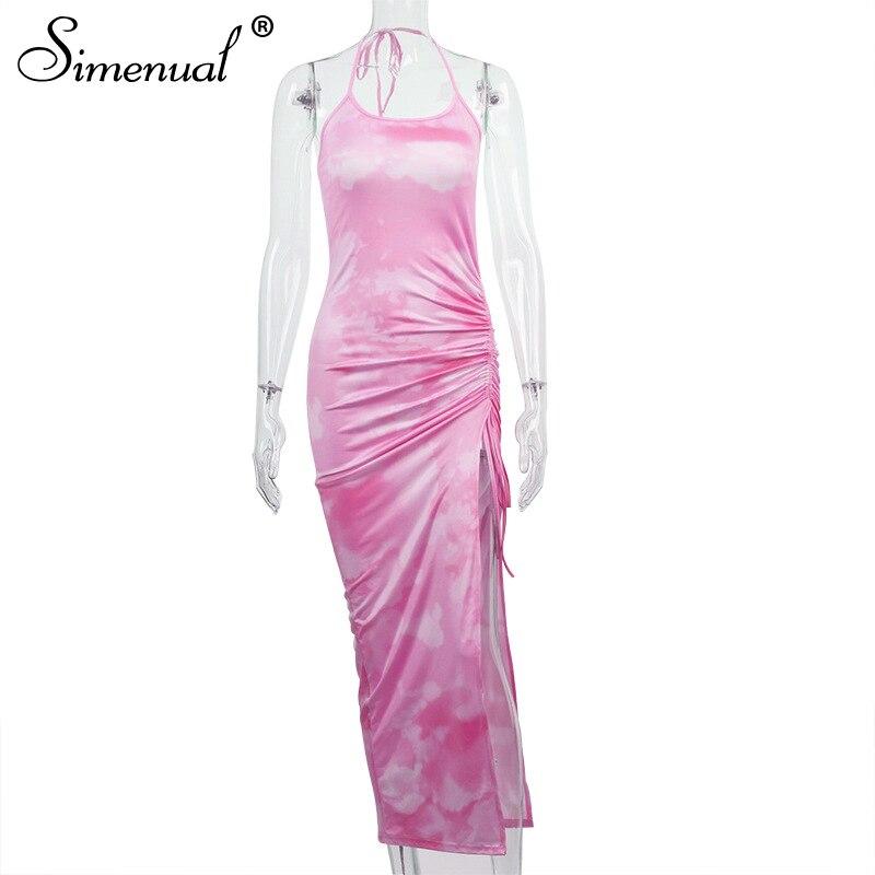 Simenual Tie Dye Drawstring Side Slit Women Maxi Dresses Strap Sleeveless Party Club Fashion Slim Backelss Bodycon Halter Dress 7