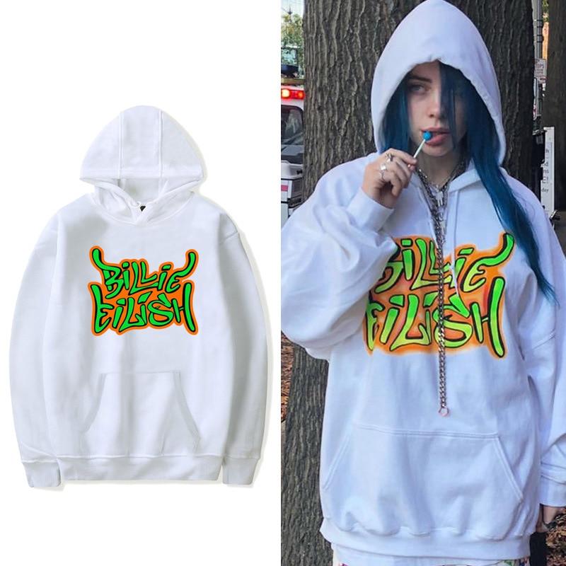 Billie Eilish Same Paragraph Fashion Streetwear Men Women Hooded Hoodies Sweatshirt Casual Pullover Long Sleeve Hip Hop Hoodie