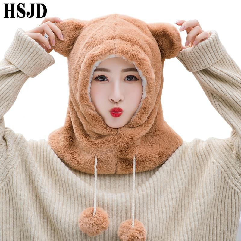 Adult Cute Cartoon Animal Bear Plush Hat Warm Marten Velvet Balaclava Ear Hat Adjustable Scarf Women Winter Caps Ski Beanies Cap