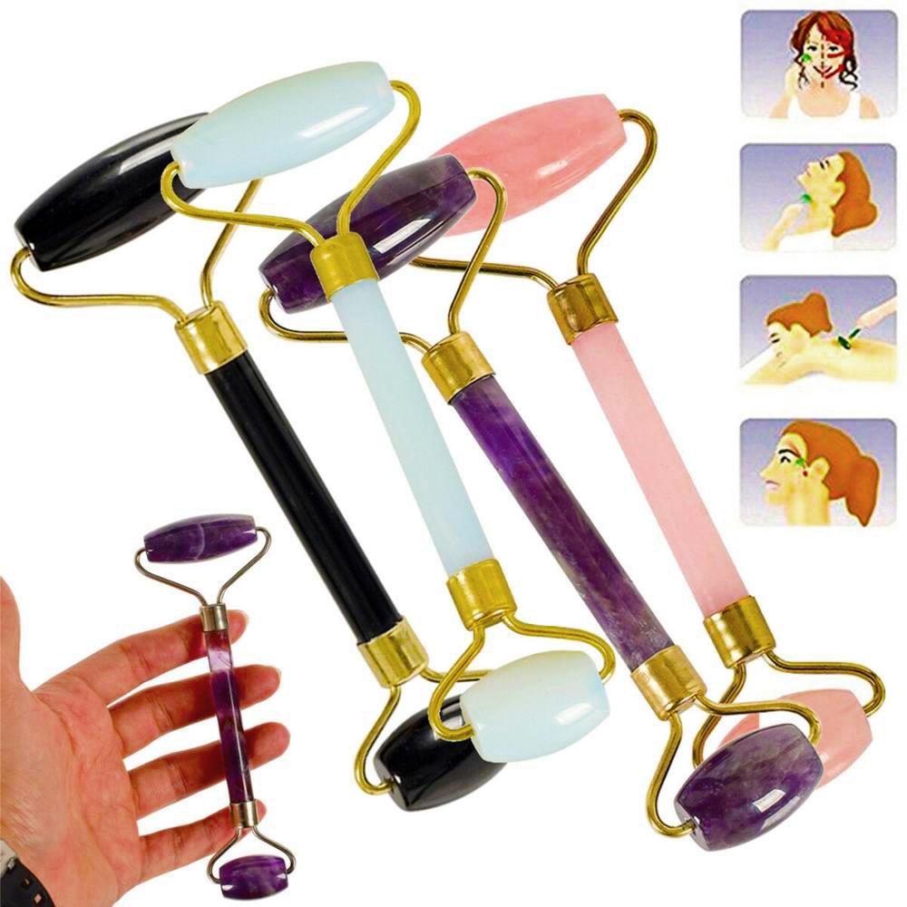 US $2.8 |Антивозрастной массажер для лица инструмент Нефритовый камень массаж лица спа ролик розовый кварц|Камни| |  - AliExpress