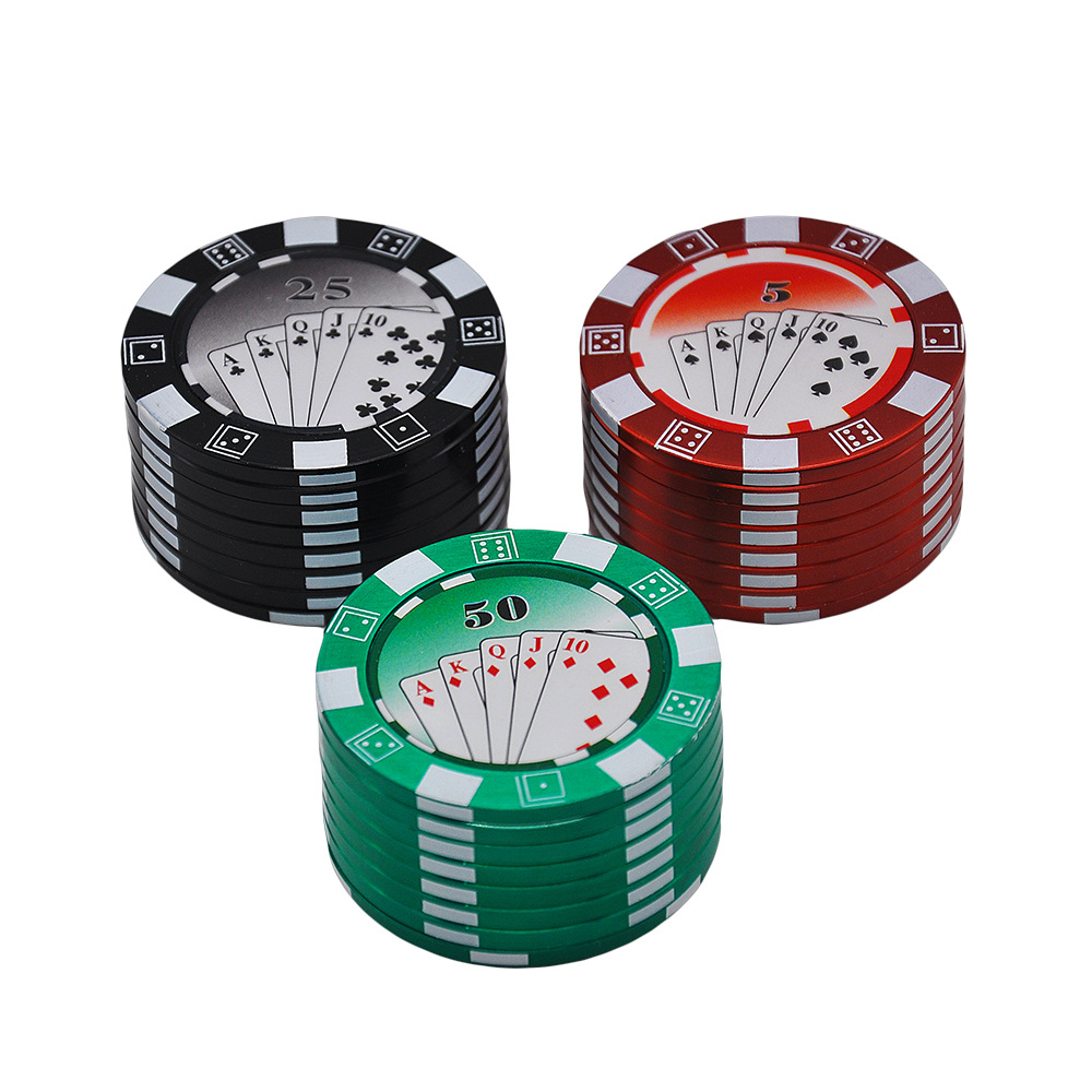 1pc big poker Dia.49mm chip Zinc Alloy metal herb smoking tobacco grinder hand crank herb crusher 3- Layers Poker chips grinder