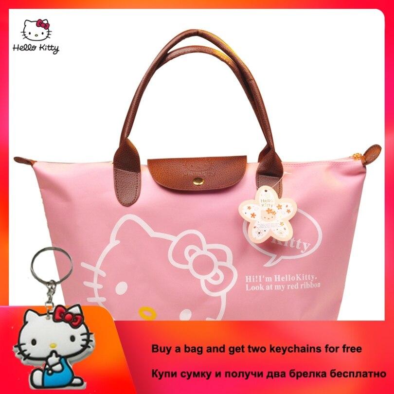 2019 New HELLO KITTY Fashion Portable Ladies Handbag Cute Cartoon Large Capacity Shoulder Canvas Bag Clutch Bag HK-213