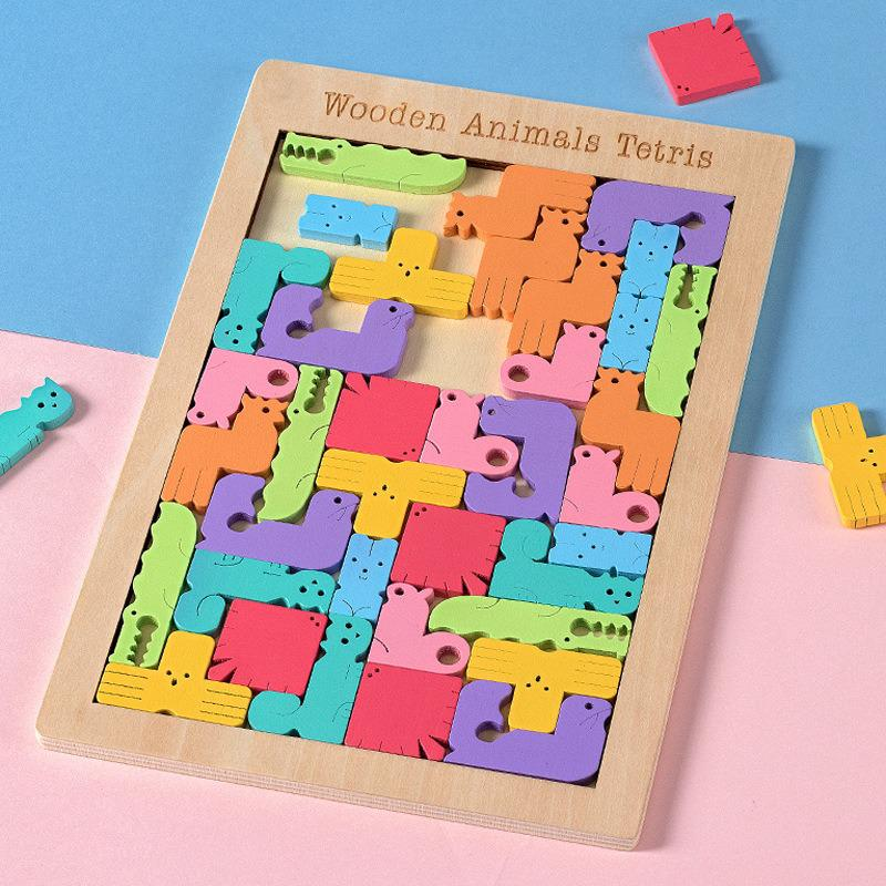 Children's Educational Wooden Animal Tetris Jigsaw Puzzle Game Color Cartoon Animal Jigsaw Puzzle  Wooden Building Blocks Toy