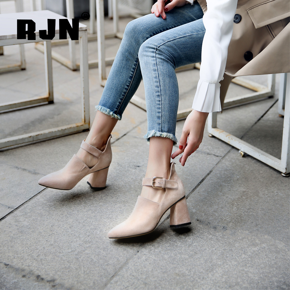 Hot Sale RJN Sexy Pointed Toe Pumps Buckle Straps Unique Design Pink Kid Suede High Square Heel Leisure Shoes Fashion Women Pumps RO48