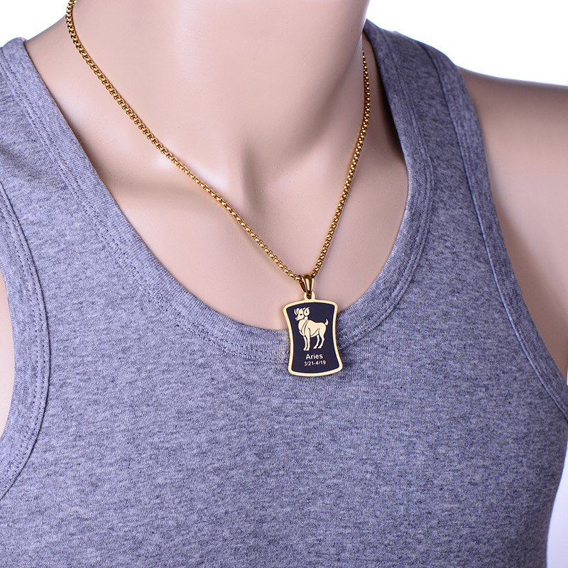2020 <font><b>necklace</b></font> chain Square card men <font><b>necklace</b></font> <font><b>Zodiac</b></font> <font><b>sign</b></font> <font><b>12</b></font> <font><b>constellation</b></font> <font><b>pendant</b></font> stainless steel male accessories gold simple image