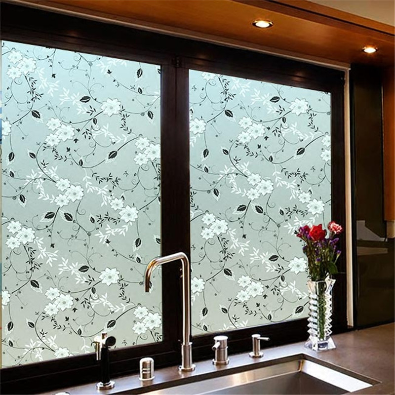 Широкая матовая стеклянная пленка 45/60 см, клейкая оконная пленка для конфиденциальности, наклейка на окна с клеем для ванной, кухни, спальни ...