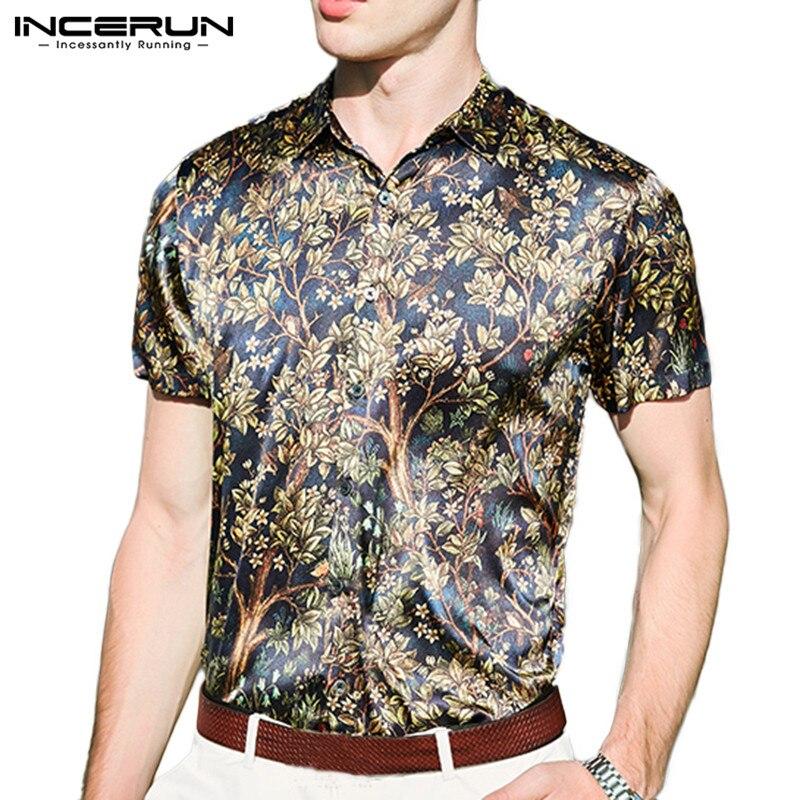 INCERUN Faux Silk Satin Men Shirt Floral Printed Lapel 2020 Short Sleeve Vintage Camisa Masculina Stylish Brand Shirt Men S-5XL