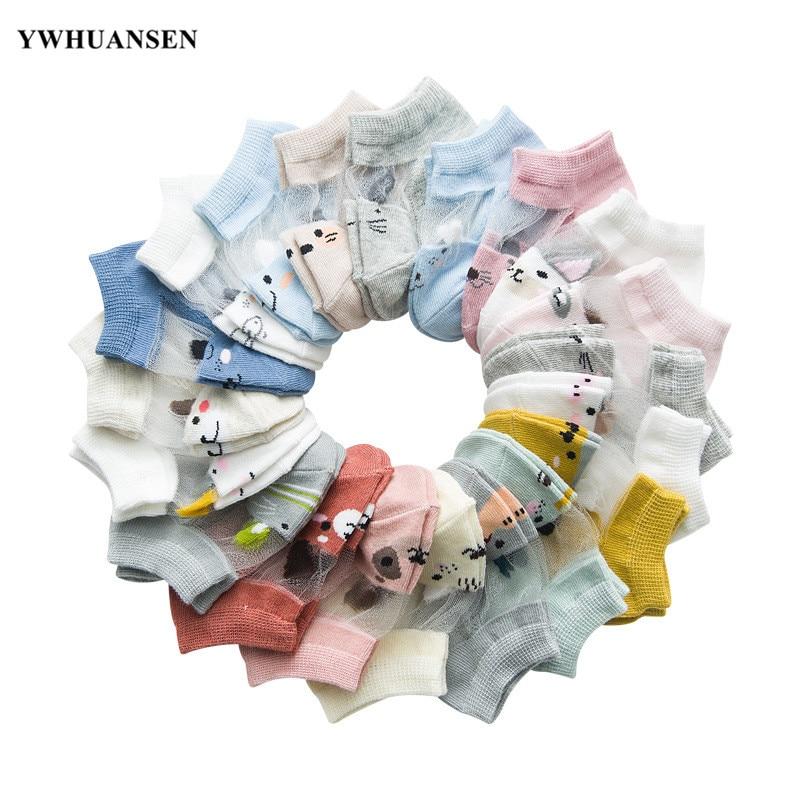 YWHUANSEN 5 Pairs/lot 0 To 4 Yrs Spring Summer Mesh Socks For Girls Boy Cute Animal Children's Thin Sock Baby Newborn Short Sock