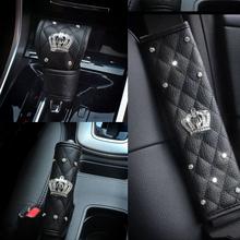 Uniwersalny nakładka na pas bezpieczeństwa w samochodzie kryształowy diament hamulec ręczny pokrywa przekładni fotel samochodowy pas nakładka na pas bezpieczeństwa dla kobiety modny samochód stylizacji tanie tanio Pasy bezpieczeństwa i wyściółka Car Seat Belts Cover 0 6kg BM087 shoulder protector leather China 37-38cm black