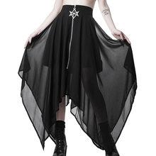 Pentagram Zipper Black Punk Skirts Summer Mesh Irregular Women Skirts Gothic Darkness Lady Skirt Casual Loose Streetwear Skirts