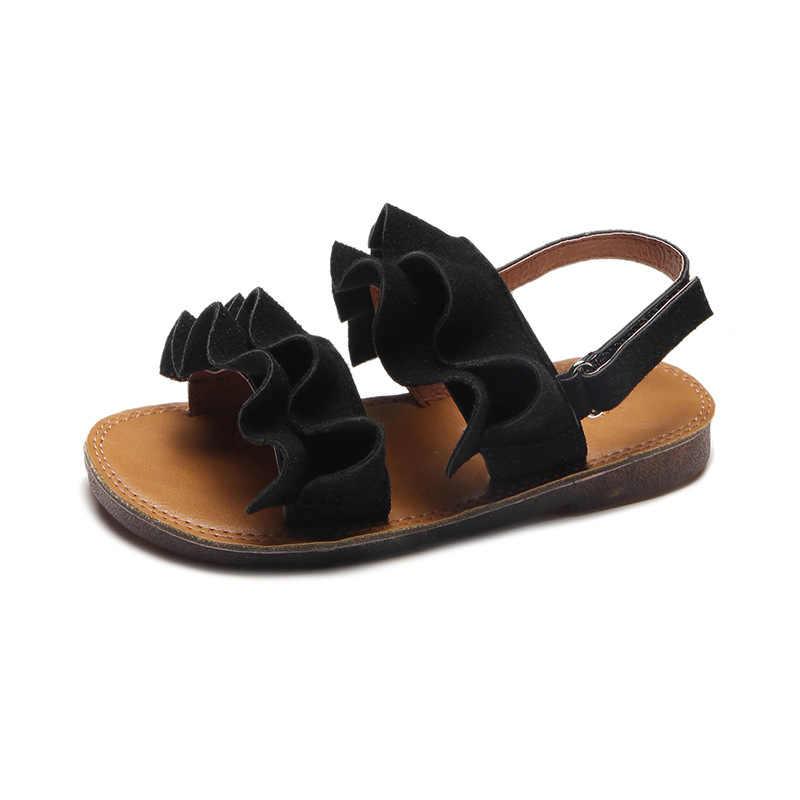แฟชั่นสาวสบายๆLotus Leafนุ่มสบายด้านล่างHook & Loopรองเท้าชายหาดสำหรับเด็กเด็กวัยหัดเดินรองเท้า
