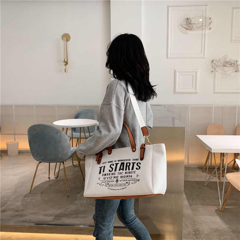 2020ใหม่ผู้หญิงกระเป๋าถือแฟชั่นBig Capalityกระเป๋าผ้าใบลำลองกระเป๋าMessenger Unisex Patchworkกระเป๋า