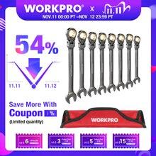 WORKPRO jeu de clés à criquet à tête flexible, ensemble de clés métriques/SAE, outils de réparation automobile, 8 pièces