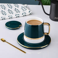 400ml coffee mug Heat resistance ceramic mugs With spoon lid saucer tea cup set drinking Milk espresso glasses KEMORELA