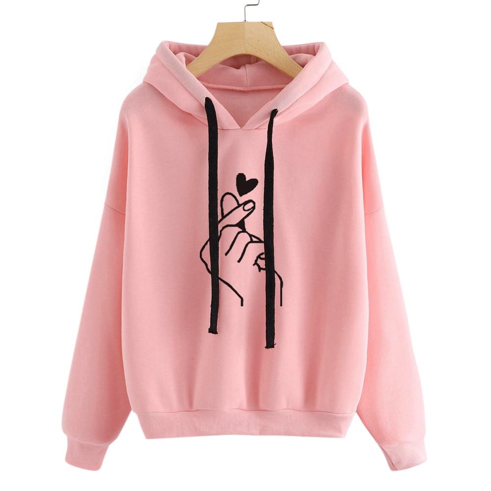 Women Tops Blouse 2020 Womens Long Sleeve Hoodie Sweatshirt Jumper Hooded Pullover Female Casual Tops Blouse Blusa Feminina