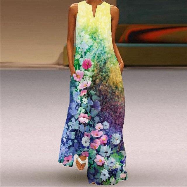 MOVOKAKA Heart Print Vintage Dress 2021 Party V Neck Summer Sundresses Elegant dresses Women Casual Beach Maxi Dresses For Women 2