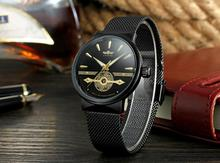 Winner 2019 Fashion Black Golden Mesh Belt Waterproof Luminous Hands Mechanical Wrist Watches Top Brand Luxury Business Clock