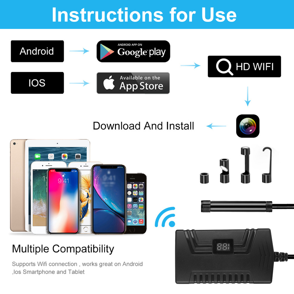 Industrial Endoscope Endoscope Smartphone PC Camera Tablet WiFi Endoscope For Waterproof Borescope Inspection 1080p Car Notebook