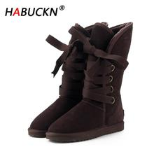 HABUCKN Australia Classic Fashion High Snow boots Women boots Genuine Cowhide Leather Lace up Long boots Fur Warm Winter Boots habuck women australia classic style snow boots winter warm genuine leather warterproof high quality ankle boots large size