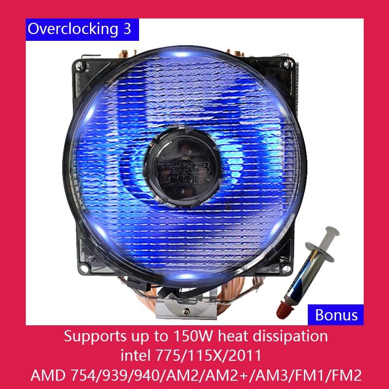 Overclocking 3 refroidisseur de processeur, quatre ventilateurs de refroidissement à tubes en cuivre, compatible avec intel I3i5i7 115X 775 2011, AMD 940/AM2/AM2 +/AM3/FM2platform